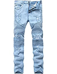 Men's Blue Skinny Ripped Destroyed Distressed Straight Slim Tapered Leg Jeans