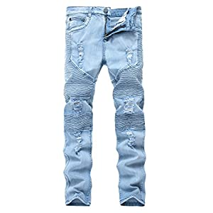 Men's Biker Moto Skinny Ripped Distressed Destroyed Fit Denim Jeans