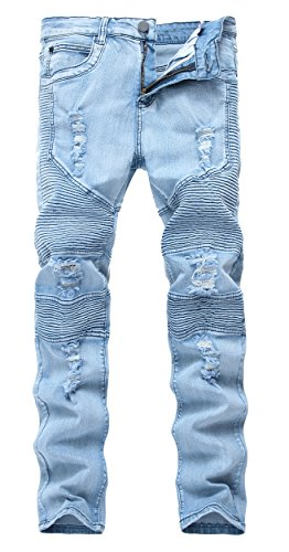 Men's Blue Skinny Ripped Destroyed Distressed Straight Slim Tapered Leg Jeans Blue,W32×32L