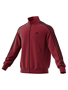 adidas Men's Essentials 3-Stripe Tricot Track Jacket, Collegiate Burgundy/Black, Small
