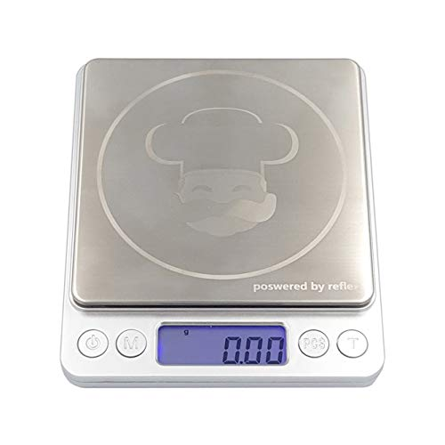 reflex 3000g / 0.1g Digital Pocket smart food Scale, slim portable, high precision, stainless steel surface, laboratory, nutrition calculation, baking, counting, tare function, Bluetooth, rechargeable