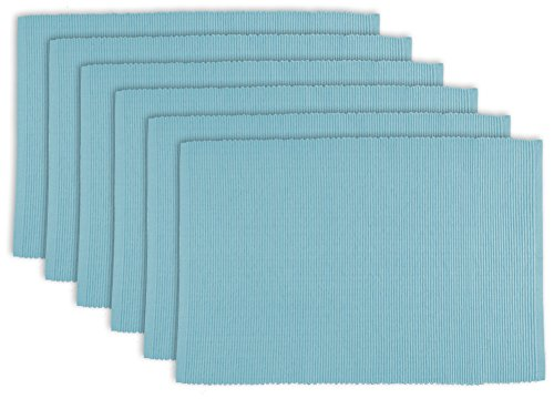 DII 100% Cotton, Ribbed 13 x 19 Everyday Basic Placemat Set of 6, Light (Light Blue Placemat)