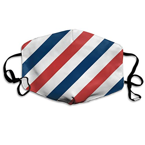 Barber Shop Flag Stripes Anti-Dust Earloop Mouth Mask for Women Men, Anti Flu Pollen Germs Painting Kaomoji Half Face Mouth Mask - Elastic Band Hypoallergenic Respirator ()