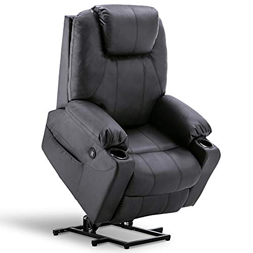 Mcombo Oversized Power Lift Recliner Chair with Massage and Heat for Elderly Big and Tall People, 3 Positions, 2 Side Pockets and Cup Holders, USB Ports, Faux Leather 7517 (Large, Black)