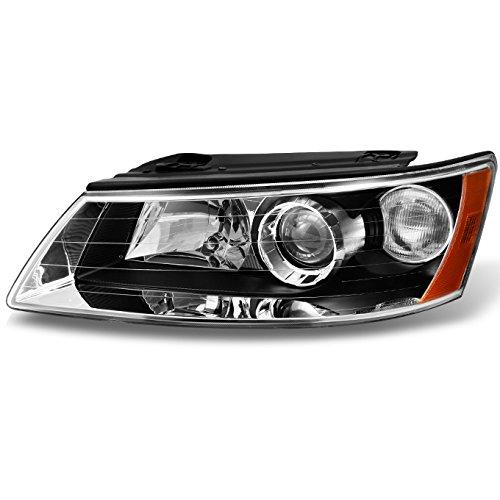 For Hyundai Sonata Black Bezel Projector Headlights Headlamps Front Lamps Driver/Left Side ()