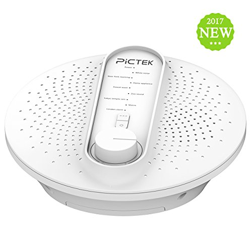 White Noise Sound Machine, PICTEK 24 Soothing Sleep Therapy Sound Machine, Sound Spa Relaxation Machine for Baby, Kids, Insomniac and Traveler (Adapter Not Included)