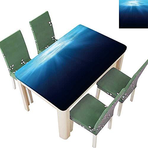 Printsonne Indoor and Outdoor Tablecloth Underwater Scene Background with Sunlight Liquid Spills Bead up 54 x 72 Inch (Elastic Edge)