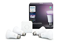 Philips Hue White & Color Ambiance A19 60w Equivalent Led Smart Bulb Starter Kit (4 A19 Bulbs & 1 Hub Compatible With Amazon Alexa Apple Homekit & Google Assistant)