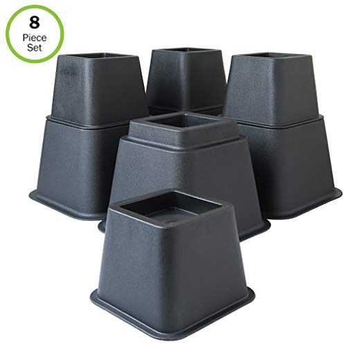 Evelots Bed/Furniture Risers- 3, 5 or 8 Inch Higher-More Space-Heavy Duty-Set/8