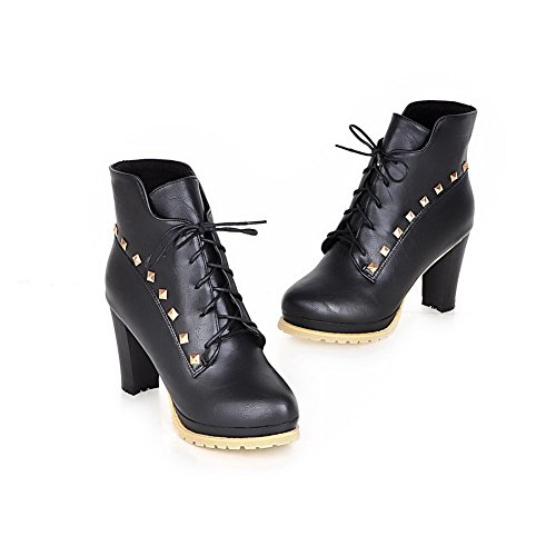 Closed Boots Black Low Women's Blend Materials top Toe Round Allhqfashion High Heels qFw1gx
