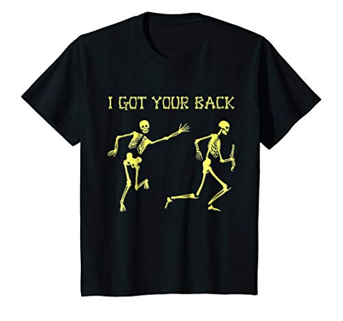 Kids Funny Skeleton Halloween I Got Your Back T-Shirt 10 Black ()