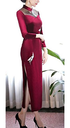 Dress Pleuche Comfy Red Crane Cheongsam Retro Pants Traditional Long Wine Womens 7w5Oqwca8