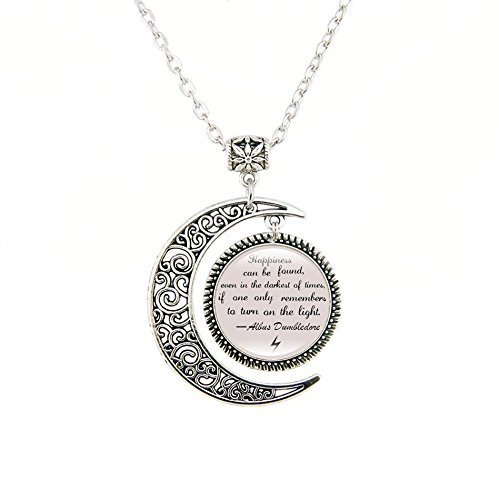 Moon Pendant Inspirational Pendants Necklace Albus Dumbledore Quote jewelry gift for Friends (Harry Potter Jewelry Necklace)