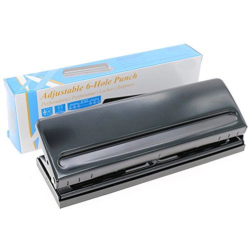 6 Sheets Capacities Adjustable Stainless Steel Desktop Hole Punch MyLifeUNIT 6 Holes Paper Puncher