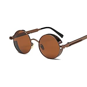 VeBrellen Gothic Hippie Retro Round Circle Frame Cyber Polarized Steampunk Sunglasses