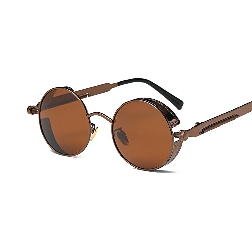 VeBrellen Men Gothic Hippie Retro Metal Round Circle Frame Cyber Goggles Polarized Steampunk Sunglasses (Brown Frame With Brown Lens,C5, - Gothic Round Sunglasses
