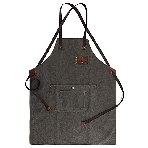 Waxed Canvas Denim Apron with Adjustable Neck and Waist Strap Waterproof Comfortably Tough Tool Aprons (army green)