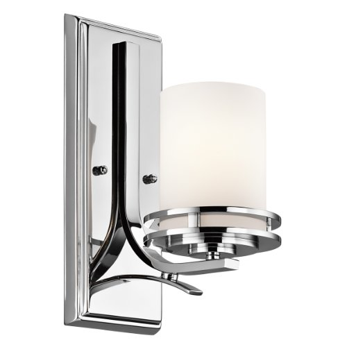 kichler lighting 5076ch hendrik 1 light wall sconce chrome finish with satin etched cased opal glass