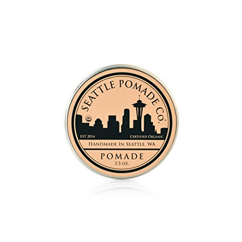 Pomade Organics (Organic Hair Pomade - USDA Certified - Medium Hold, High Shine Finish – Product Styling Formula for Textured, Straight, Curly, or Modern Hairstyles  – 2.5 OZ – By Seattle Pomade Co.)