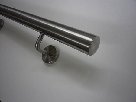 210cm 3 Edelstahl-Halter Edelstahlhandlauf ModellTIBU-Line /Ø 33,7mm mit Halter und leicht gew/ölbten Endkappen in verschiedenen L/ängen