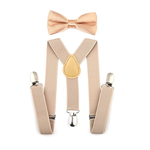 AWAYTR Kids Boys Girls Suspenders Strong Clips With Bow tie Set (Khaki Pull)