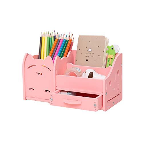 Soporte para bolígrafo combinado, material de PVC, adornos para gatos creativos, almacenamiento multifunción, un cajón +...