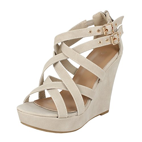 Image of Guilty Heart | Womens Gladiator Strappy Open Toe Platform | Comfortable Wedge Sandals