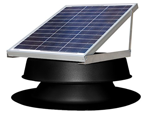 Natural Light Solar Attic Fan Vent Roof Mount, 36 Watt Black (Black Sun Fan Roof)