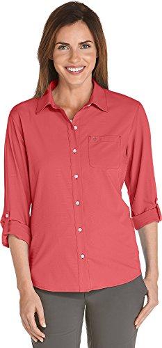 Coolibar UPF 50+ Women's Sun Shirt - Sun Protective (3X- Deep Coral)