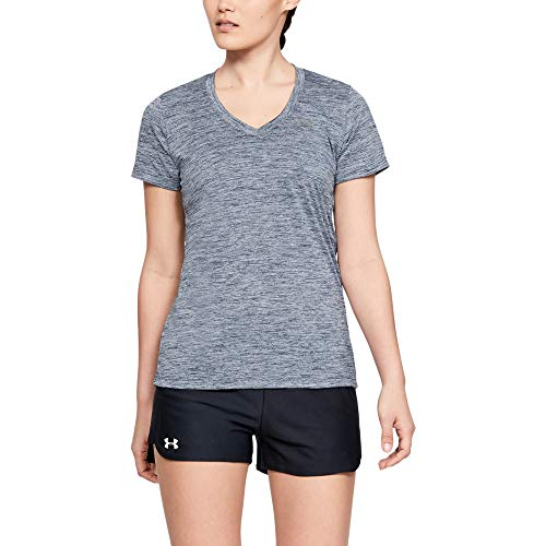 (Under Armour womens Tech V-Neck Twist Short Sleeve T-Shirt, Downpour Gray (044)/Metallic Silver, Medium)