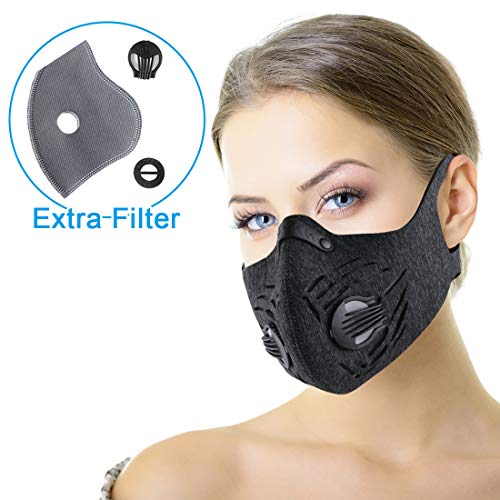 Dust Mask, RooRuns Dustproof Mask (with Ear-loop) Activated Carbon Filtration Exhaust Anti Pollen Allergy PM2.5 Dust-proof Mask for Running, Woodworking, House Cleaning, Gardening and Other ()