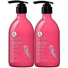 Luseta Keratin Smooth Shampoo & Conditioner Set, for Straight and Wavy Hair, 2 x 16.9 Oz