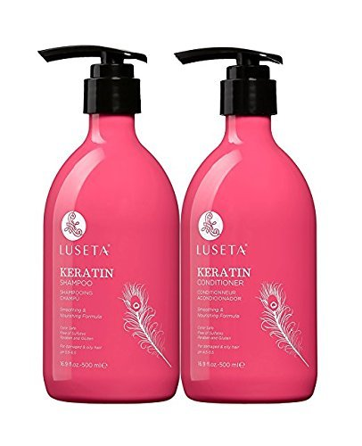 Luseta Keratin Smooth Shampoo & Conditioner Set, for Straight and Wavy Hair by LUSETA