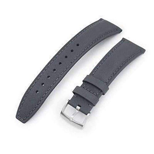 (Strapcode Leather Watch Strap 20mm or 22mm Military Grey Kevlar Finish Watch Strap, Brushed)