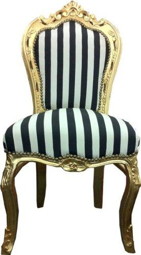 Casa-Padrino Baroque dining room chair black/white stripes/gold Casa Padrino