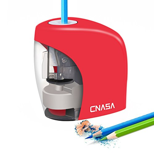 Heavy Duty Classroom Electric Pencil Sharpener Auto Stop Feature ,CNASA Automatic Pencil Sharpener AC/Battery Operated for 2B Colored an All 6-8mm Pencils for Kids Home School Study Office (Red Sharpener)
