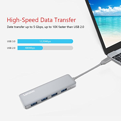 Lenovo USB Type-C to 4 Port USB 3.0 Hub, Aluminum USB-C Adapter for MacBook Pro, Chromebook Pixel and More Photo #2