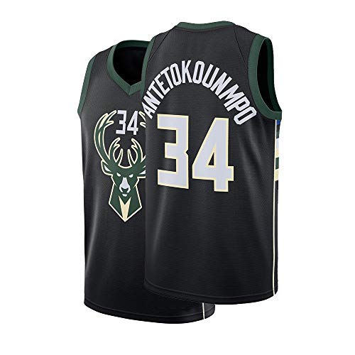 (Fysasf Youth Milwaukee Antetokounmpo Jersey 34 Kids Basketball Boys Giannis Sizes Black (Black, Youth Large 14/16))