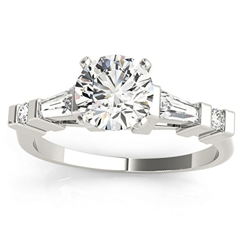 (0.33ct) Platinum Diamond Accented Prong-Set Tapered Baguette Engagement Ring Setting ()