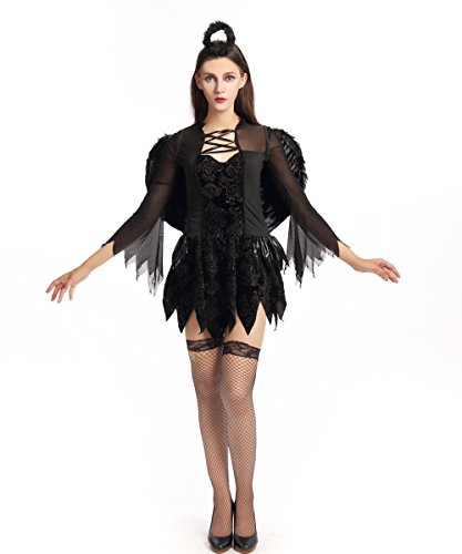 Halloween Dark Devil Angel Costume Cosplay Vampire Witch Party Queen Dress With (Angel Costume Without Halo)