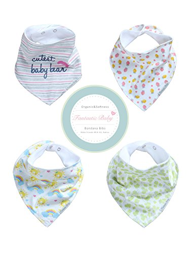 Baby Bandana Drool Bibs for Girls and Boys by Fantastic Baby 4 Pack Gift Set (multi)