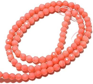 LOVEKUSH Cuentas raras 50 hebras al por mayor cuentas de coral, cuentas redondas de coral facetadas, cuentas redondas de 4 mm, collar de coral rosa, 15 pulgadas cada Code-RM758