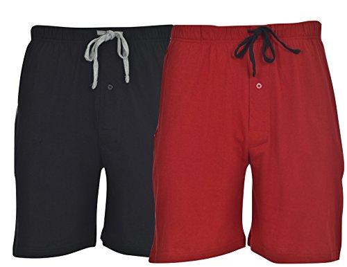 Hanes Men's Jersey Lounge Drawstring Shorts with Logo Waistband 2-Pack,Biking Red/Black,Medium