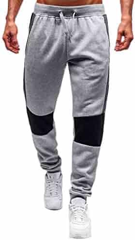 51f15a8af15d3e Allywit Men's Gym Workout Jogger Slim Fit Tapered Sweatpants Running Track Pants  Zipper Pockets
