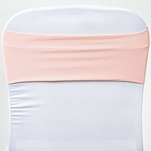 BalsaCircle 10 Blush New Spandex Chair Sashes Bows Ties - Wedding Party Ceremony Reception Decorations Supplies Wholesale