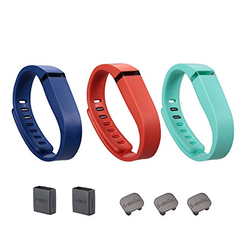 I-SMILE 3PCS Replacement Bands with Metal Clasps for Fitbit Flex/Wireless Activity Bracelet Sport Wristband/Fitbit Flex Bracelet Sport Arm Band (Navy&Tangerine&Teal, Small)