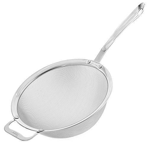 9' Kitchen Fine Mesh Strainer with Sturdy Handle and Wider Hook - Perfect for Quinoa