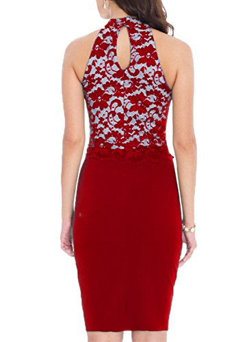 WOOSEA Women's Elegant Floral Lace Sleeveless Retro Bridesmaid Prom Dress (XX-Large, Red)