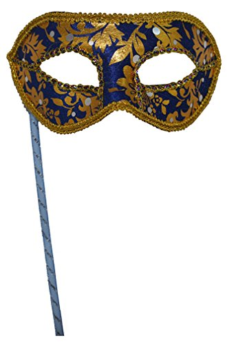 Men's Masquerade Christmas Halloween Ball Party Half Face Masks on Stick (Blue) ()
