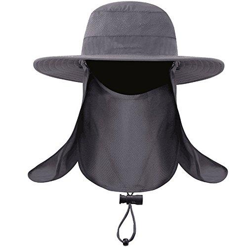 Dealsboom Sun Cap Men Summer Fishing Hat Wide Brim - Flap Hats UV 360° Solar Protection UPF 50+ Sun Cap Removable Neck&Face Flap Cover Caps for Outdoor Sports & Travel( Grey)